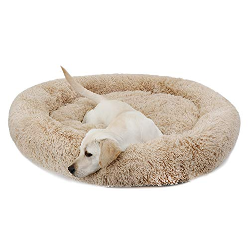 Donut Dog Bed Calming Ultra Soft Shag Faux Fur Dog Bed Comfortable Donut Cuddler for Dogs and Cats,Self-Warming and Washable (45Inches, Beige)