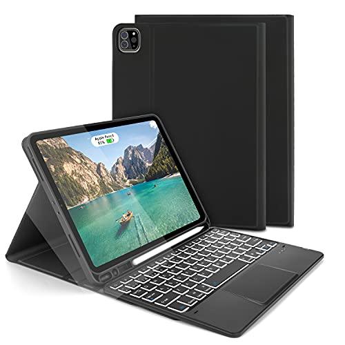 Funda con Teclado Trackpad para iPad Air 10.9' 2020 /iPad Pro 11 2020/2018 (1.ª /2.ªgen), Teclado Español Ñ Bluetooth Retroiluminada con Touchpad para iPad Air 10,9 (4.a generación), Negro