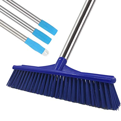 GLORYA Floor Scrub Brush - Grout Cleaner Brush with 5ft Lightweight Stainless Steel Handle Pole - Stiff Bristle Concrete Broom and Tile Scrubber for Bathroom, Patio, Kitchen, Wall, Deck and Garage