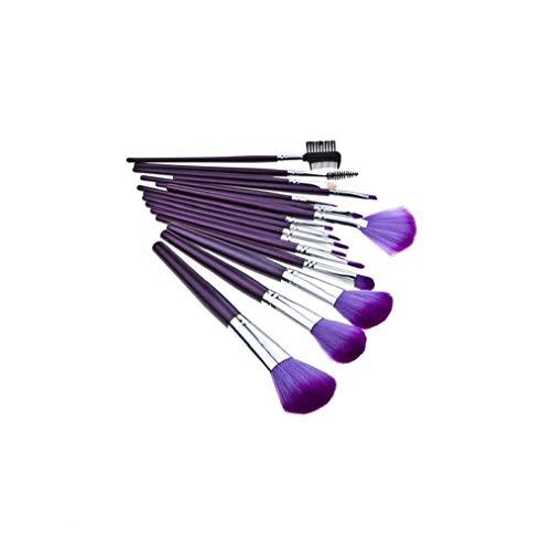 16 pcs pinceaux de maquillage pinceau de maquillage Ensemble poignée en plastique pinceau à poudre Professional lisse Pinceau pour blush poudre pour le visage des yeux cosmétiques violet
