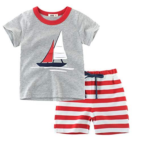 Amissz Bebe Niño Conjunto de Camiseta + Pantalones Cortos de Manga Corta con cordón a Rayas de Verano para niño 2 Piezas