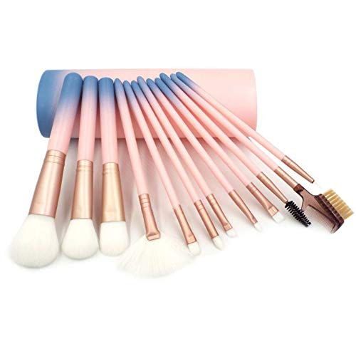 Ensembles de pinceaux de maquillage - Kit de pinceaux de maquillage dégradé de 12 pièces pour fond de teint fard à paupières sourcils Eyeliner Blush Poudre Concealer Contour