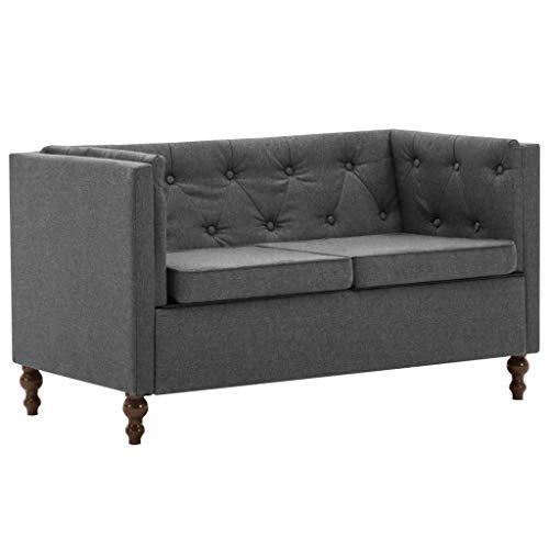 pedkit Sofás de salón Sofá Chesterfield Chaise Longue 5# de 2 plazas con tapizado de Tela Gris Oscuro