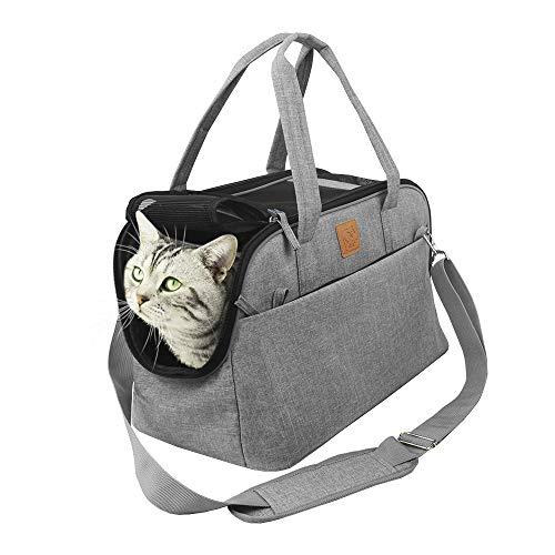 Purrpy 猫キャリー小型犬 猫用 2way ショルダーペットキャリーバッグ 通気性 通院 アウトドア 猫 キャリー お出かけバック (43 * 24.5 * 26 cm, シルバーグレー)