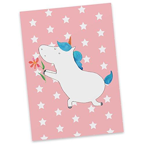 Mr. & Mrs. Panda presentkort, gratulationskort, vykort enhörning blomma - färg röd pastell
