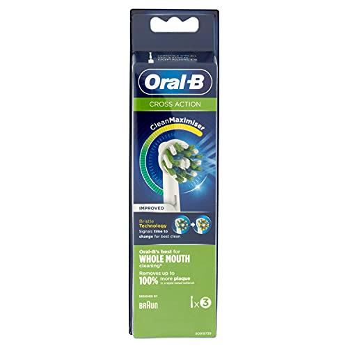 Oral-B Crossaction - Cabezales de Repuesto con Tecnología Cleanmaximiser, 3 Testine