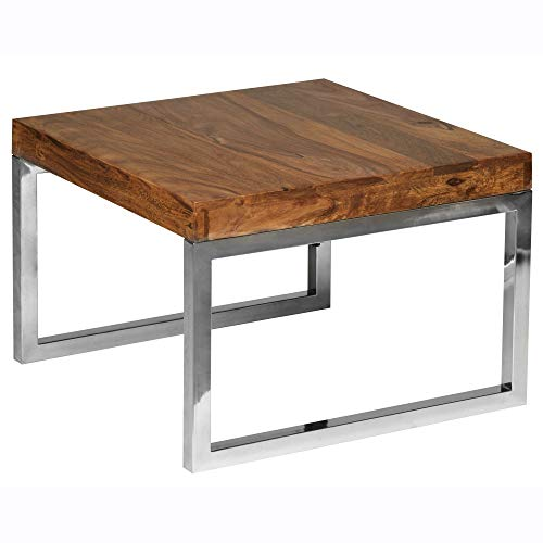 FineBuy Beistelltisch Massiv-Holz Sheesham Wohnzimmer-Tisch mit Metallgestell Landhaus-Stil Couchtisch Dunkelbraun Natur-Produkt Wohnzimmermöbel Unikat modern Massivholzmöbel Echtholz Anstelltisch