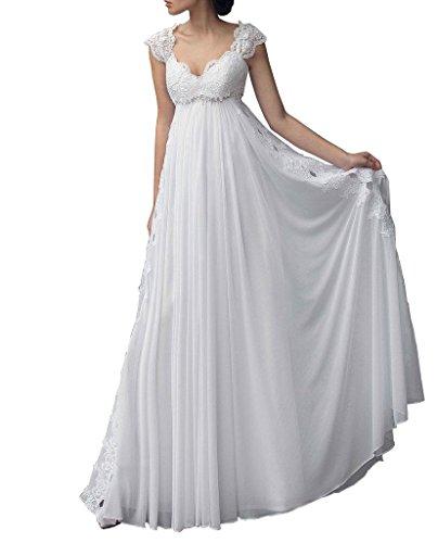NUOJIA Empire-Taille Mutterschaft Hochzeitskleider Chiffon Spitze Brautkleid zum Schwanger Frau mit Kappenhülsen Weiß 36