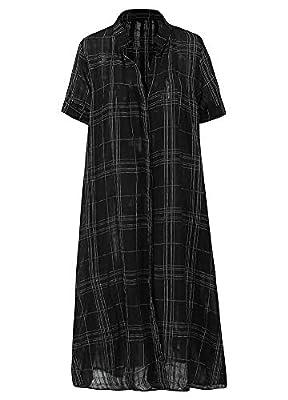 Romacci Women Long Button Down Shirt Blouse Dress Plaid Stand Collar Short Sleeve Plus Size Casual Shirt