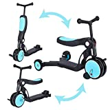 WONKAWOO Tri-Scoot Scooter 3-in-1 Tricycle/Scooter/Balance Bike Sleek Design Foldable Seat for Kids & Toddlers Boys & Girls for 3-8 Years Old