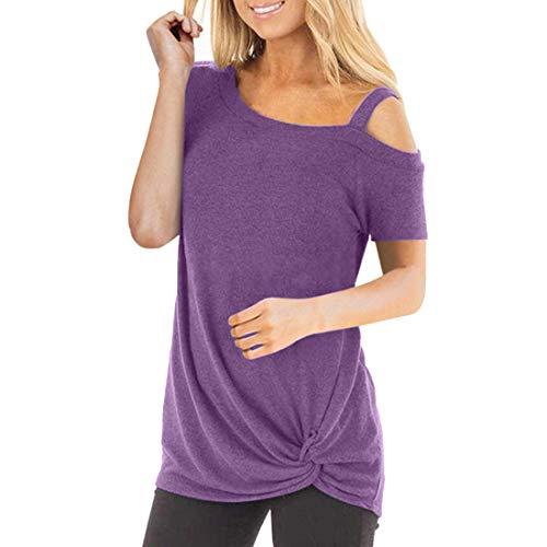 Camiseta de manga corta de verano para mujer Camiseta con cuello en V y bolsillo Camiseta de manga corta Color Block Twist Blusas y tops casuales Camisetas de manga larga Tops de algodón Otoño holgado