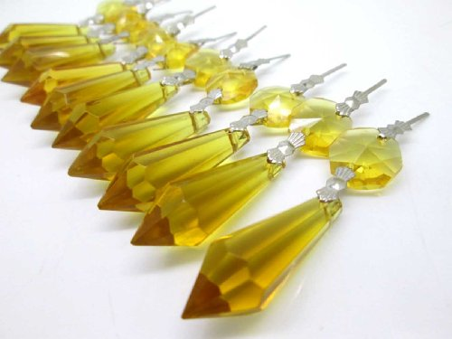Sun Cling Chandelier Icicle Crystal 38mm, Pack of 20 (Yellow)