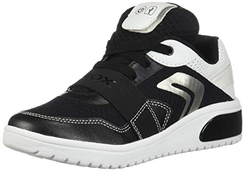 Geox XLED Boy J927QB Jungen High-Top Sneaker,Kinder LED Licht Text,Schnürung,Sportschuh,Mid Cut Sneaker,Black/White,39