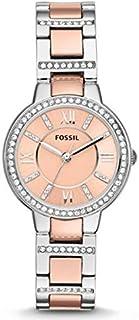 ساعة فوسيل فريجينا بلونين للنساء - انالوج بعقارب رسمية وبسوار ستانلس ستيل - ES3405P