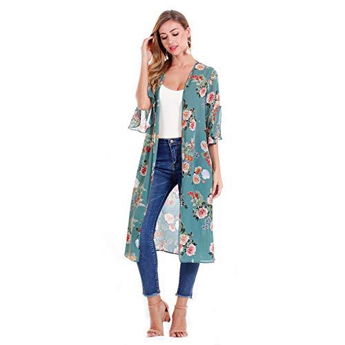 YYH Dames gebreide jas met bloemenpatroon chiffon kimono cardigan met sjaal overstijgt blouses strandjurk Medium groen