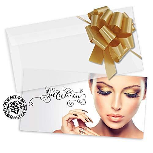 10 Gutscheinkarten DIN-lang + 10 Kuverts + 10 Schleifen. Gutscheine für Kosmetik beauty Nagelstudio Wimpernverlängerung Kosmetikinstitut. KS9280