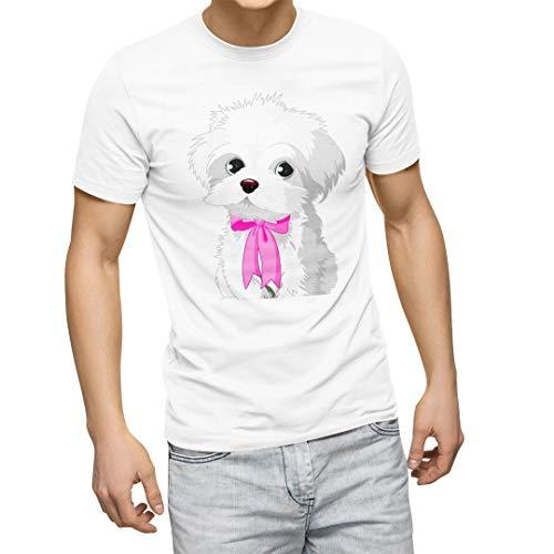 igsticker プリント Tシャツ メンズ L size おしゃれ クルーネック 白 ホワイト t-shirt 001069 アニマル 犬 シーズー