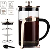 Sivaphe 34oz French Press Coffee Maker, Borosilicate Glass Tea Pot with Stainless-Steel Filter