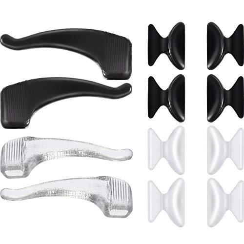 20 Paar Brillen 2,5 mm Silikon Nasenpads und Ohr Haken Grip Holder selbstklebende Anti Rutsch Gläser Ersatz, Klar und Schwarz