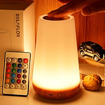 GKCI Touch Lamp Portable Table Sensor Control Bedside Lamps with Quick USB Charging Port 5 Level Dimmable Warm White Light & 13 Color Changing RGB for Bedroom/Office/Hallways