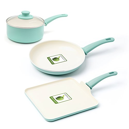 GreenLife Soft Grip Absolutely Toxin-Free Healthy Ceramic Nonstick Dishwasher/Oven Safe Stay Cool Handle Cookware Set, 4-Piece, Turquoise, CC000884-001, Mint