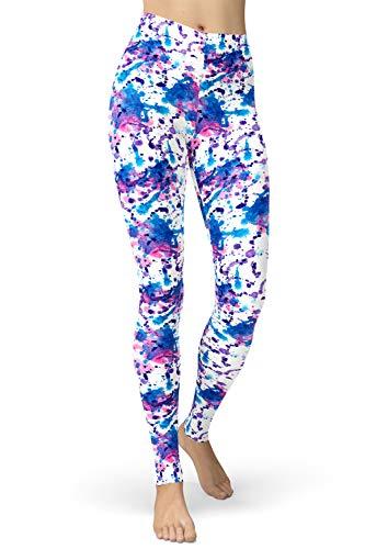 lulululucheri - Leggings largos para mujer, estampado de colores Impreso en color blanco. S