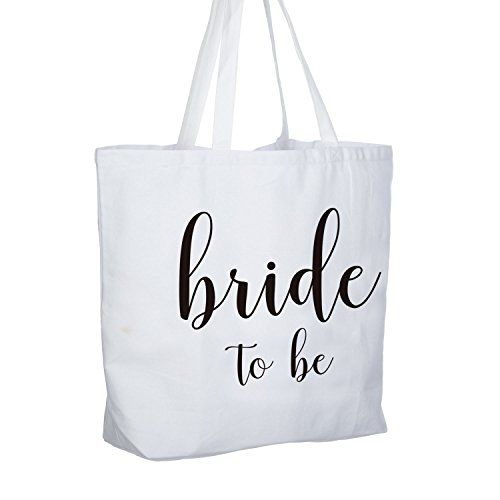 ElegantPark Bride to Be Jumbo Tote Bag Wedding Bridal Shower Gifts Canvas 100% Cotton Interior Pocket White with Black Script