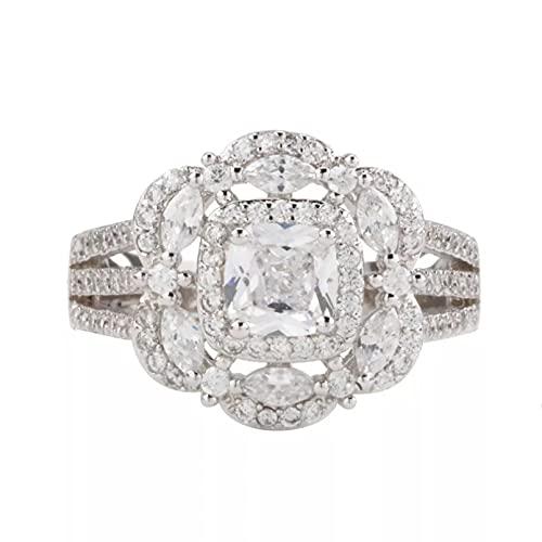 BAJIE Anillo de Boda Anillo de Diamantes de Plata de Ley 925 para Damas Cuadrado Ojo de Caballo exagerado Anillo de joyería de Piedras Preciosas de topacio para Damas
