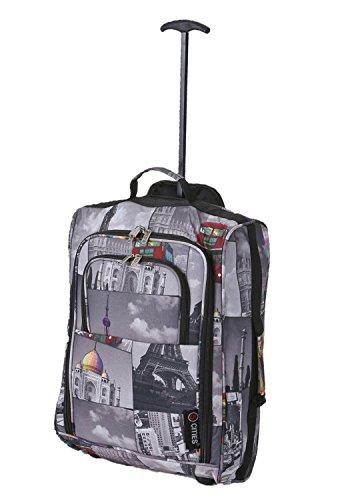 5Cities®, ligera maleta de viaje con ruedas ideal para Ryanair, Easyjet, y muchas más compañías, 1,6 kg, 40 L, candado incluido