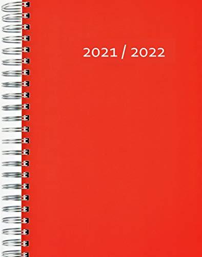 Calendrier 2021/2022 épais (31.7.21-31.7.22) – Rouge – Reliure à spirale – Une page complète au format A4 par jour – Agenda journalier | Agenda de bureau | Agenda de rendez-vous