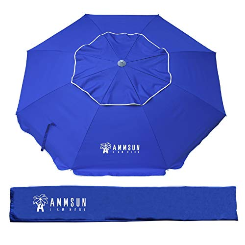 AMMSUN 6.5ft Patio Outdoor Umbrella with Push Button Tilt and Removable Fork Anchor, UPF 50+, Ideal Umbrella for Garden, Backyard and Outdoor Activities, Portable Easy Carry Bag Included (Blue)