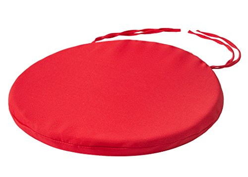 style4home Round Bistro Circular Chair Cushion With Ties Seat Pads For Dining Chairs Kitchen Garden Italian Fabric Removable Cover Indoor Outdoor Seat Pad Cushions Living Room Patio Office Shop RED