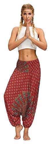 Ephemeral - Pantaloni da yoga da donna, stile bohémien, 7 tipi stampati, a vita alta, gamba larga, con coulisse in vita, casual, adatti per yoga, pilates, esercizi in interni