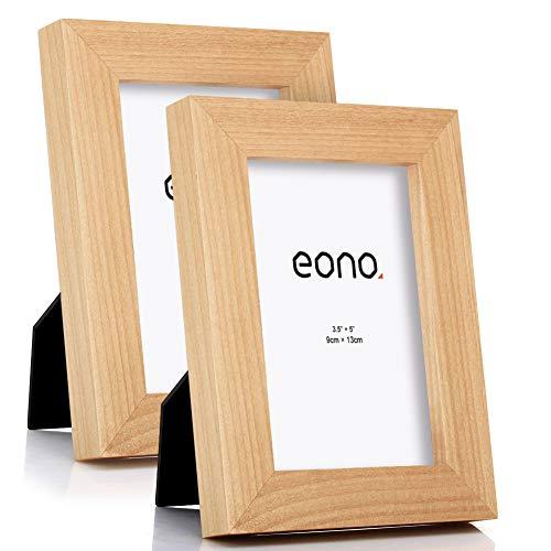 Eono by Amazon - Juego de 2 Marcos de Fotos de Madera Maciza y Cristal de Alta Definición para Pared o Sobremesa 9x13 cm Natural