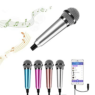 Surmounty Mini Portable Vocal/Instrument Microphone For Mobile phone laptop Notebook Apple iPhone Samsung Android (Silver)