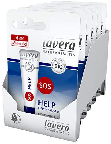 lavera SOS HELP Lippenbalsam ∙ Soforthilfe ∙ vegan Bio Pflanzenwirkstoffe Naturkosmetik Natural & innovative Lippenpflege 6er Pack (6 x 1 Stück)