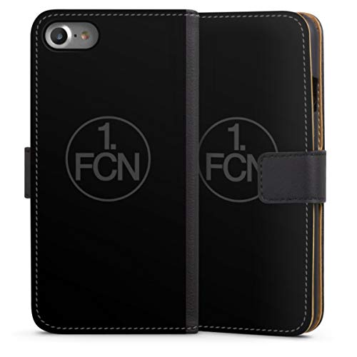 DeinDesign Klapphülle kompatibel mit Apple iPhone SE (2020) Handyhülle aus Leder schwarz Flip Case Logo 1. FCN 1. FC Nürnberg