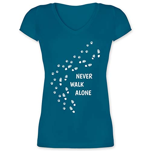 Hunde - Never Walk Alone Pfotenabdrücke - XL - Türkis - Tshirt Hund - XO1525 - Damen T-Shirt mit V-Ausschnitt