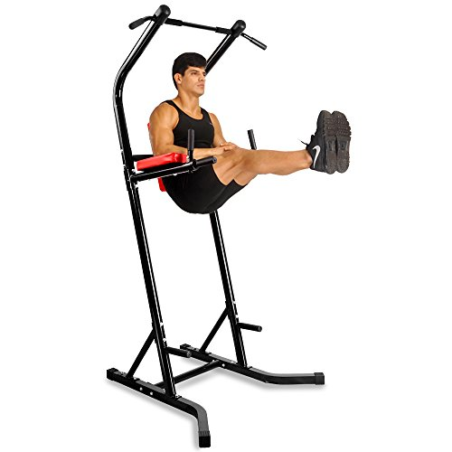 Docheer Heavy Duty 500 lbs Power Tower with Dip Station, Pull Up Bar Standing Tower Gym Equipment Sports Pull Up Tower-Black