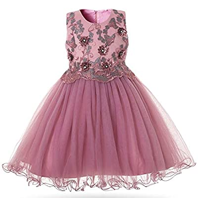 MoMo Elegant Girls Dress for Wedding Birthday Party Princess Flower Girl Dresses Kids Formal Ball Gown Tulle Fancy Frocks,0611 Purple,10T