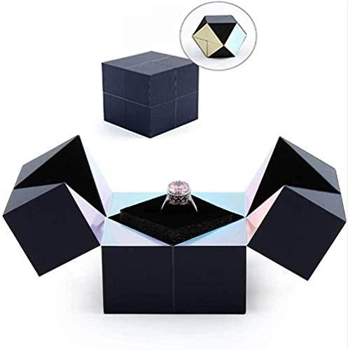 Caja de Anillo Creativa, Pulsera y Rompecabezas Joyero Cubo mágico Giratorio, Cubo mágico Caja de Anillo Caja de Regalo giratoria de joyería, Cajas de Almacenamiento de Anillo para propuesta (Blue)