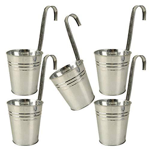 trendsforever 5er Set Hängetöpfe Zink in der Farbe Zink/Silber für Balkon und Garten Blumentopf hängend Metall