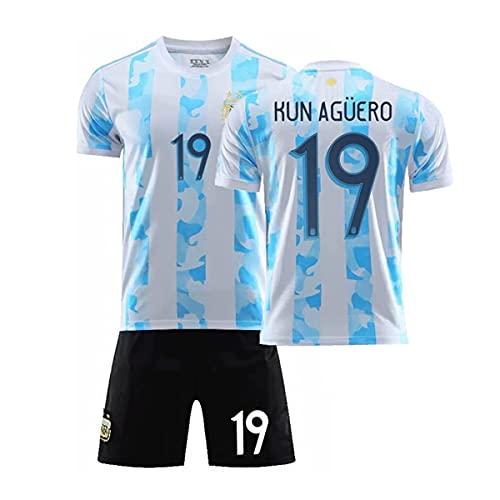 YAWIGS 2021 Argentina Home No.19 Maglia, Asciugatura Rrapida, Traspirante e Confortevole Abbigliamento da Calcio, Calcio Maglia per Bambini e Adulti