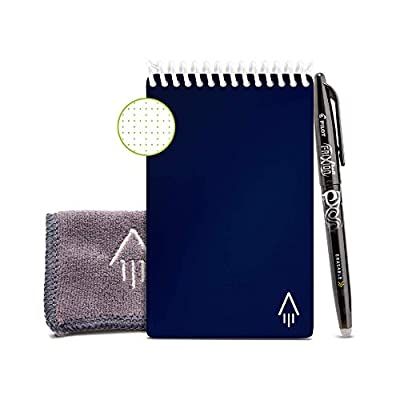 """Rocketbook Smart Reusable Notebook - Dotted Grid Eco-Friendly Notebook with 1 Pilot Frixion Pen & 1 Microfiber Cloth Included - Midnight Blue Cover, Mini Size (3.5"""" x 5.5"""") from Rocket Innovations, Inc"""