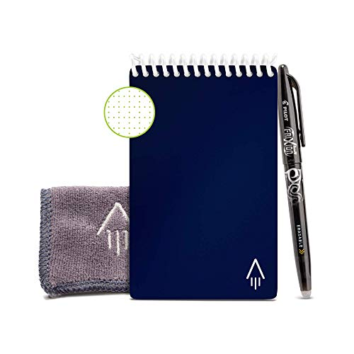 Rocketbook Smart Reusable Notebook - Dotted Grid Eco-Friendly Notebook with 1 Pilot Frixion Pen & 1 Microfiber Cloth Included - Midnight Blue Cover, Mini Size (3.5
