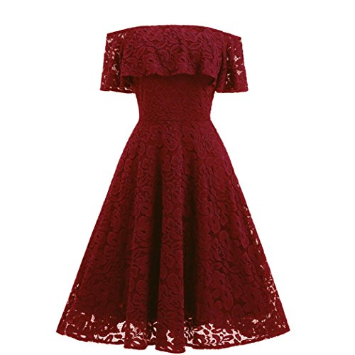Kangma Women Off Shoulder Lace Flare Cocktail Party A-Line Knee Length Strap Ball Gown Dress Red