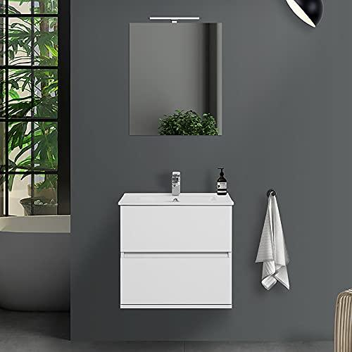 Mobile bagno sospeso con lavabo in ceramica e specchio, cassetti e ante a chiusura rallentata, 3 colorazioni disponibili (60 cm 2 cassetti, Bianco lucido)
