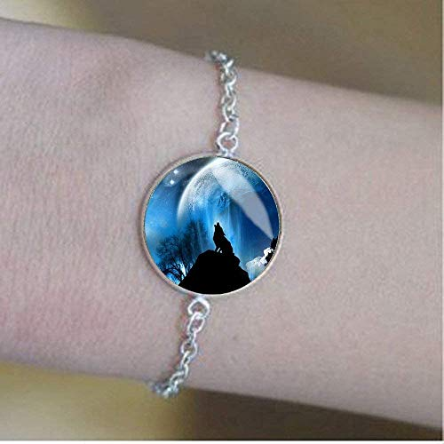 Wolf Armband, einzigartiges Geburtstagsgeschenk, heulende Wölfe, Taschenanhänger, Mond