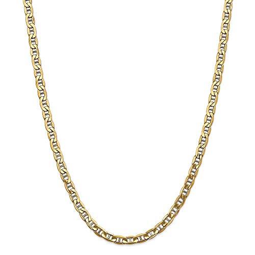 Pulsera de oro de 14 quilates, 5,5 mm, semisólida, náutica, con ancla, para mujer, 23 cm