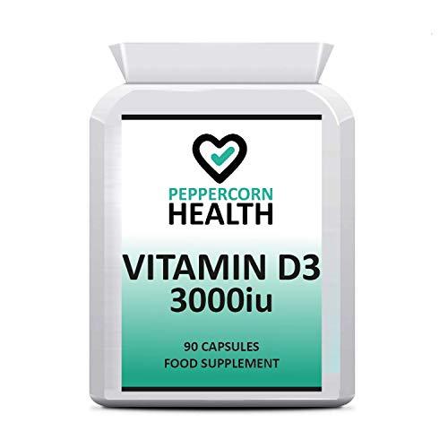 VIT D 3000iu, 90 capsules, helpen onderhouden botten, tanden en spieren functie. VIT D3 kan helpen bij de normale functie van het immuunsysteem. Pepermaïs Gezondheid